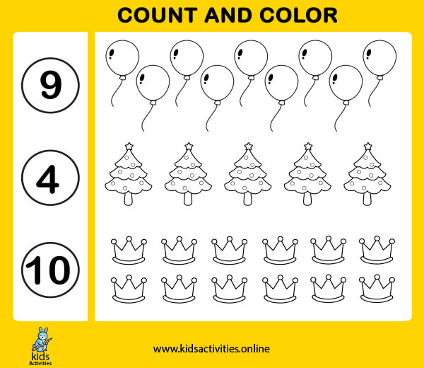 Free Counting Numbers 1-10 Printable Worksheets for kids