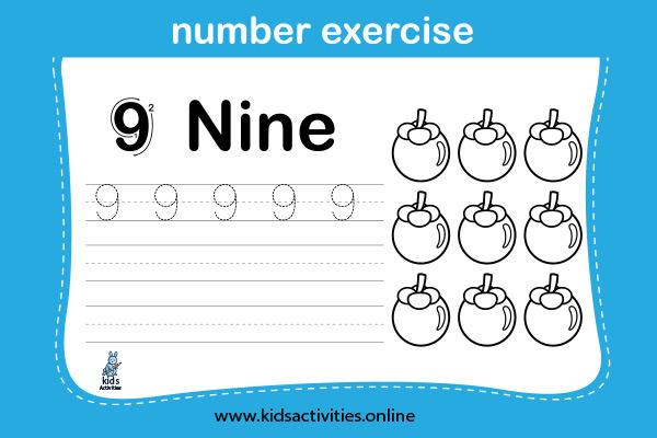 Free! Printable Writing Numbers 1-10 Worksheets - Nine