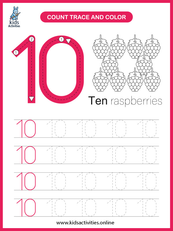 Free printable math worksheet to learn numbers - counting number 10