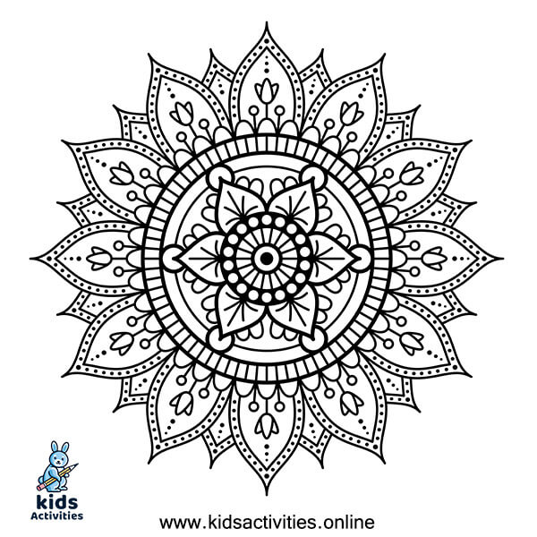 Therapeutic mandala coloring page