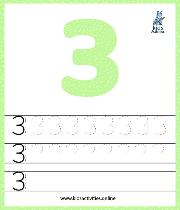 Free printable tracing numbers worksheet for preschoolers - Number 3