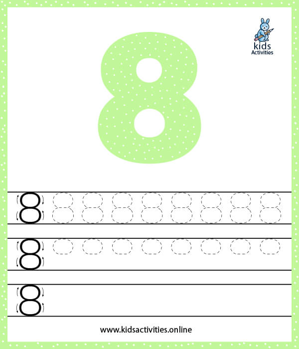 Kindergarten math worksheets for free - Number 8