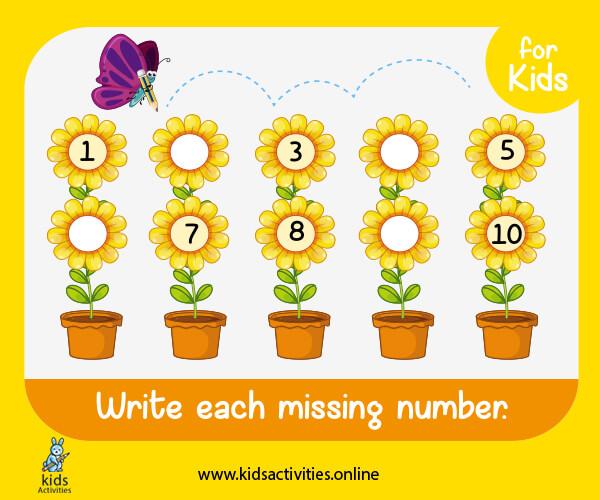 kindergarten math worksheets - free missing numbers 1-10 exercises