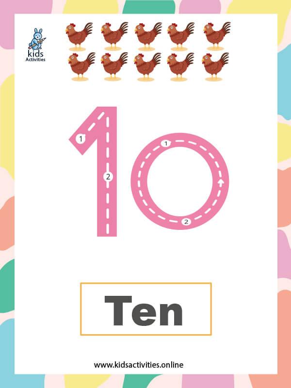 Number worksheets for preschool kids - Number 10