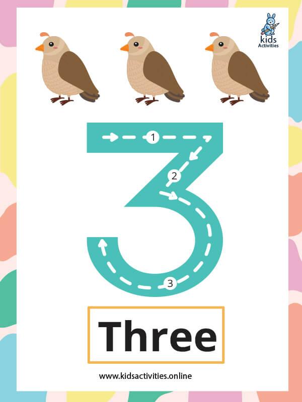 Free printables number flashcards - Number 3