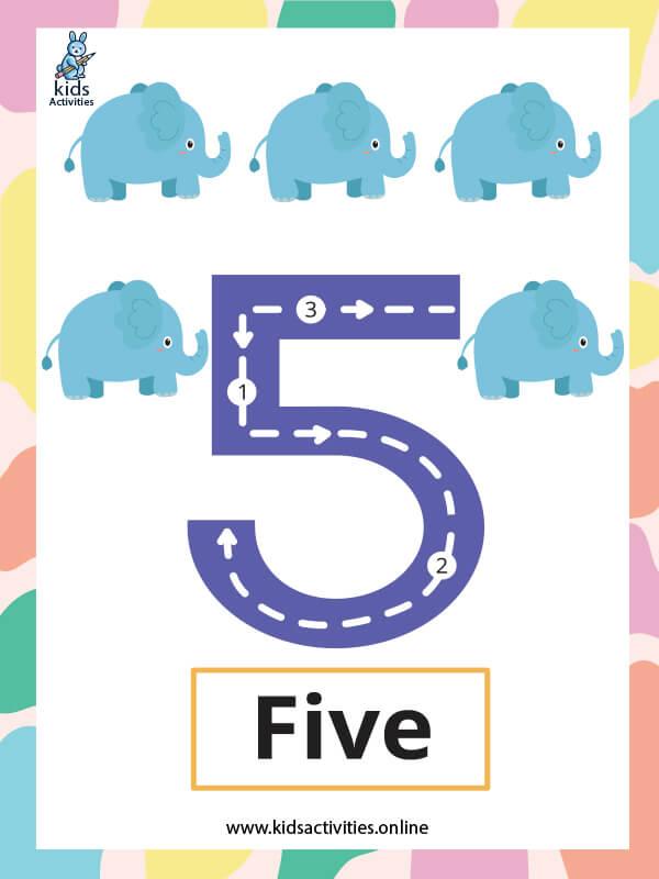 Number flashcards for kindergarten pdf - Number 5