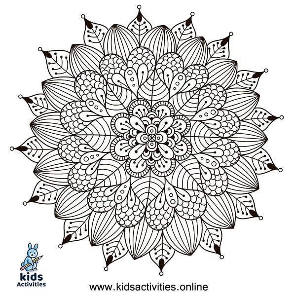 Therapeutic mandala coloring page