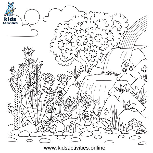 Flower and rainbow coloring page
