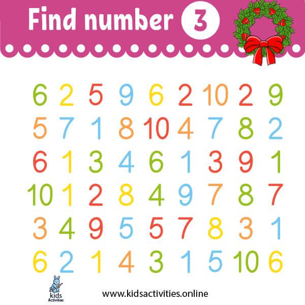 find number 3 worksheet