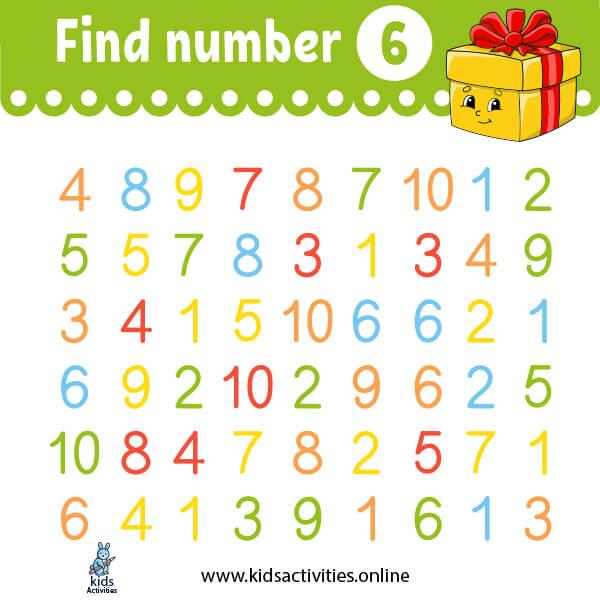 kindergarten math worksheets: find the number (1-10)