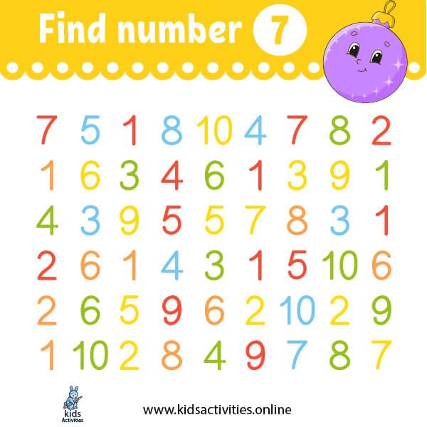 Free printable worksheets for kindergarten: find number 7