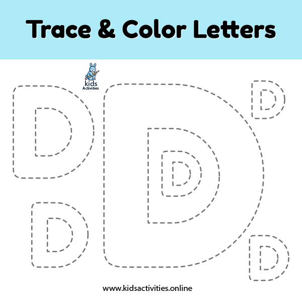letter D printables -Trace-color-letter-d