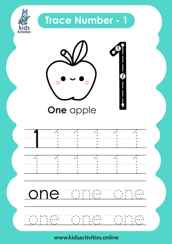 writing number 1 in words worksheet