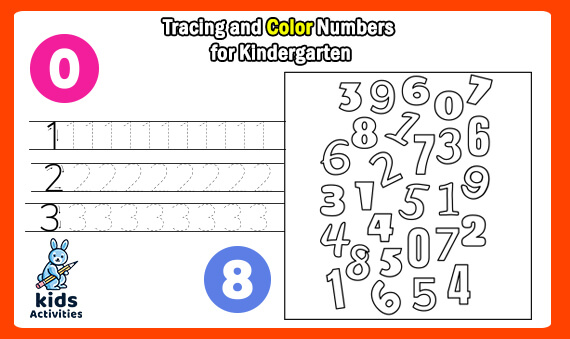Tracing and Color Numbers for Kindergarten Worksheets