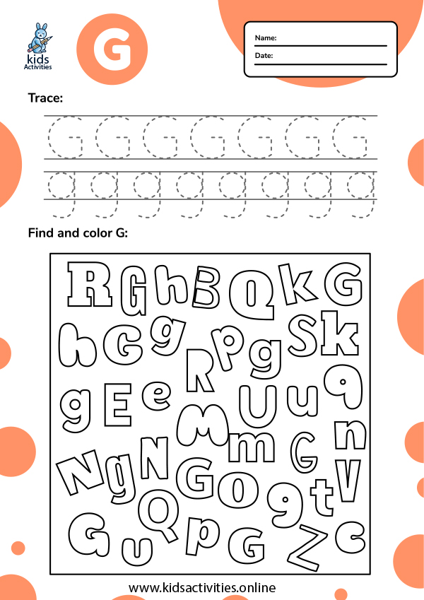Alphabet tracing - trace, find and color letter G