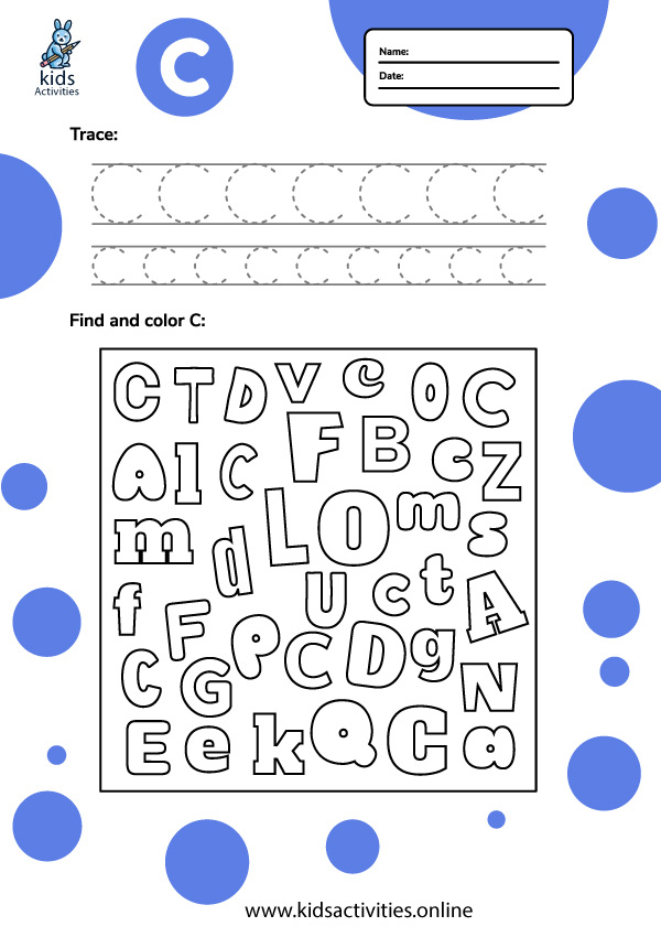 Free letter c tracing worksheets