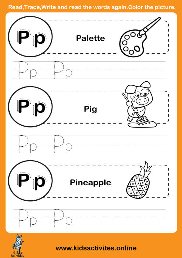 Alphabet Tracing Worksheets pdf (Letter P-p)