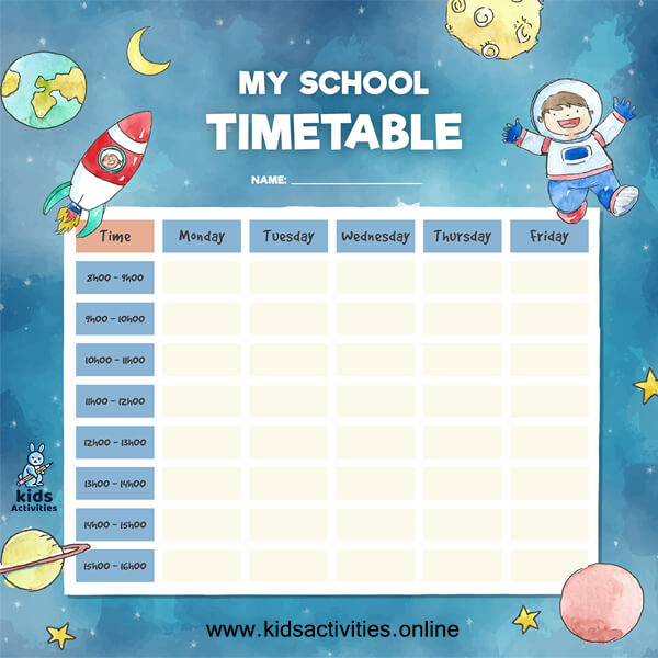 Free school daily schedule template