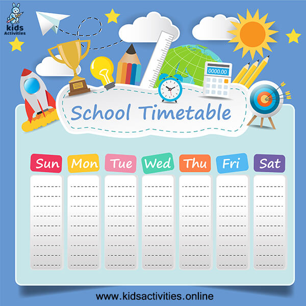 Free printable School Scheduling timetable