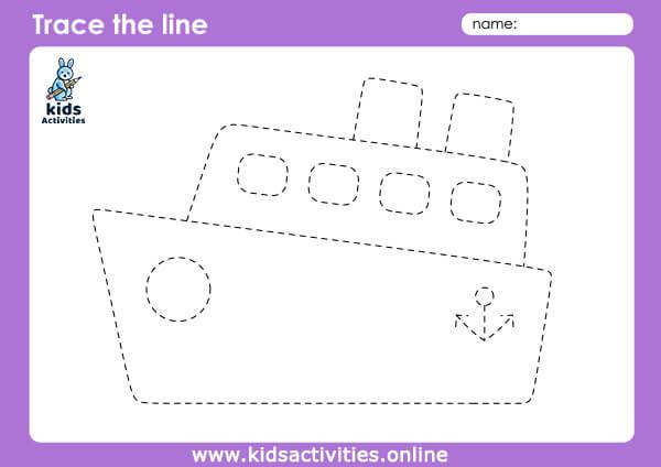 FREE Transportation Tracing Worksheets - ship