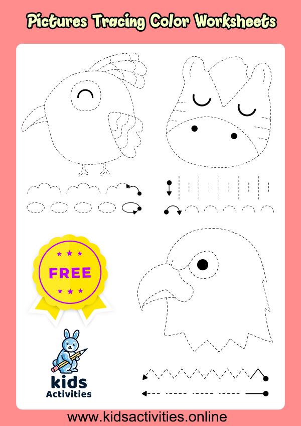 Pictures Tracing Color Free Worksheets For Kindergarten