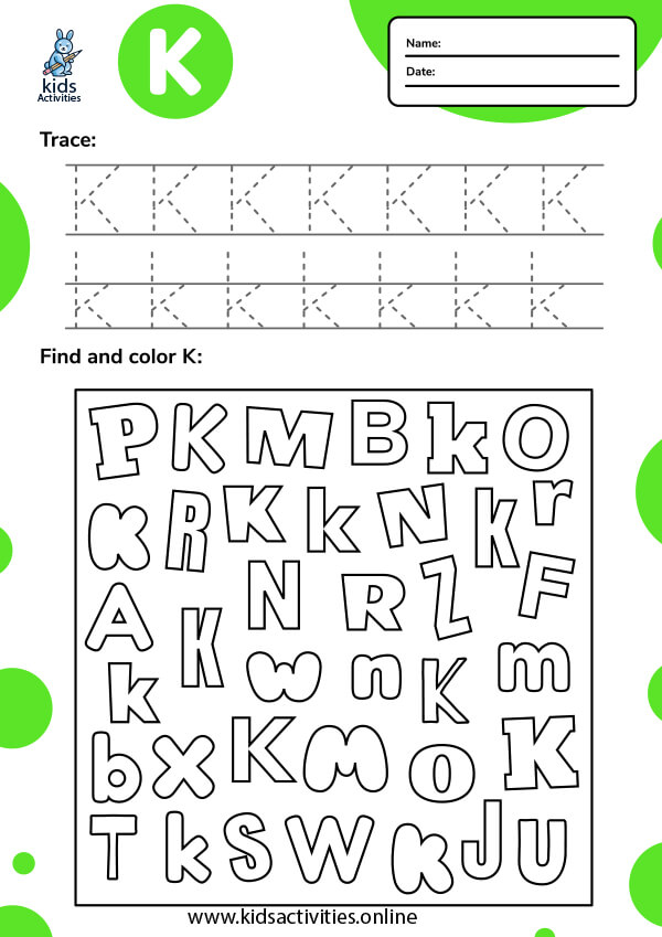 Tracing-letter-k-worksheets
