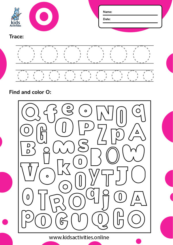 Tracing letter o worksheets
