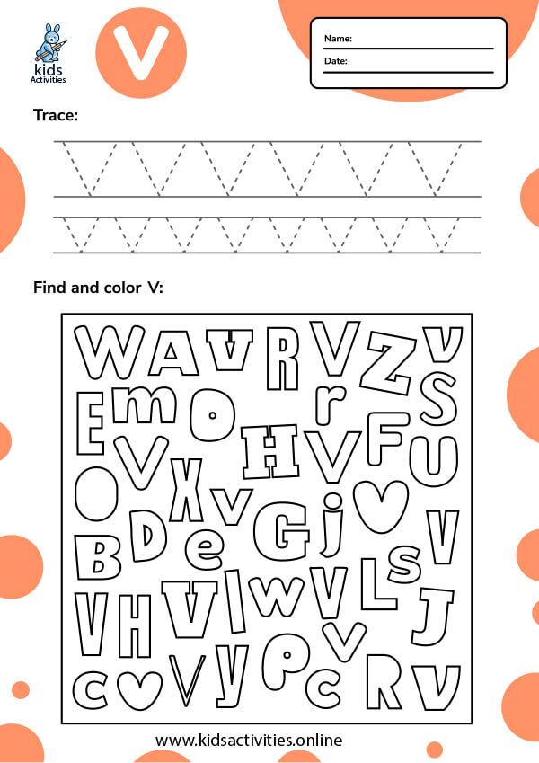 Letter V v tracing worksheets pdf