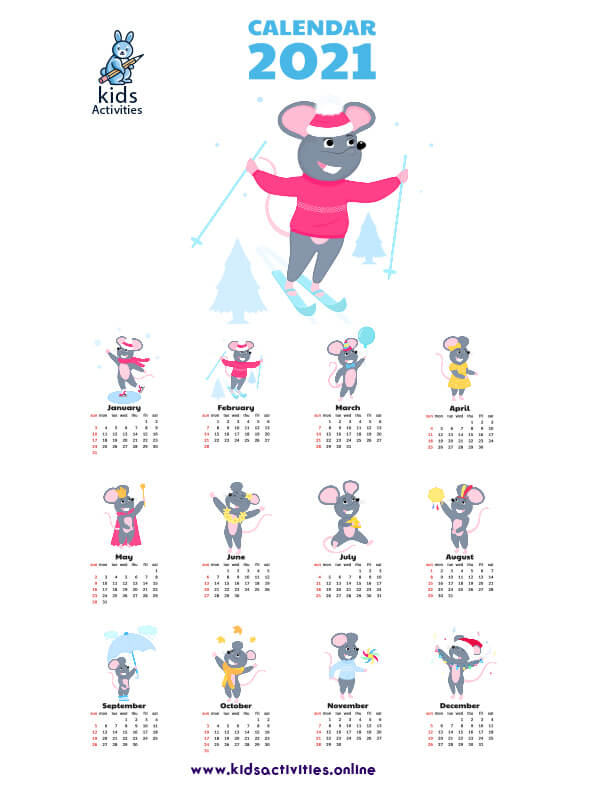 Free Cute printable monthly calendar 2021