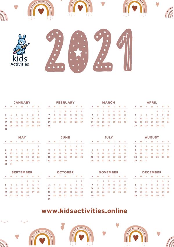 Free 2020 Calendar Template, Doodle Art pdf