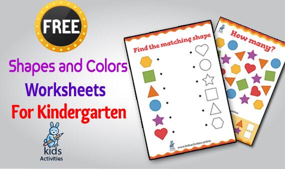 colors and shapes worksheets for kindergarten