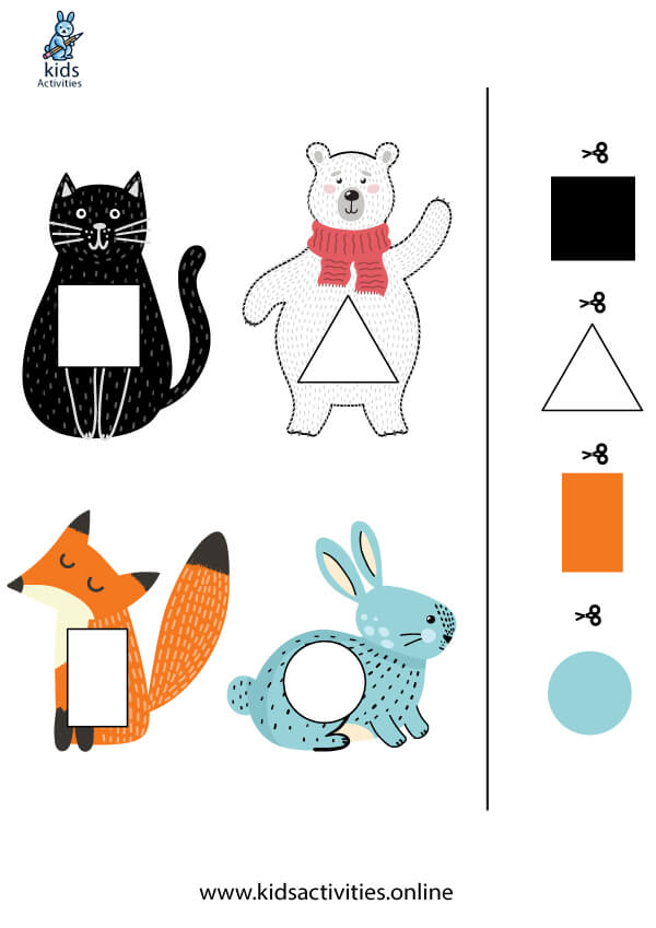 shapes and colors worksheets - cut and glue