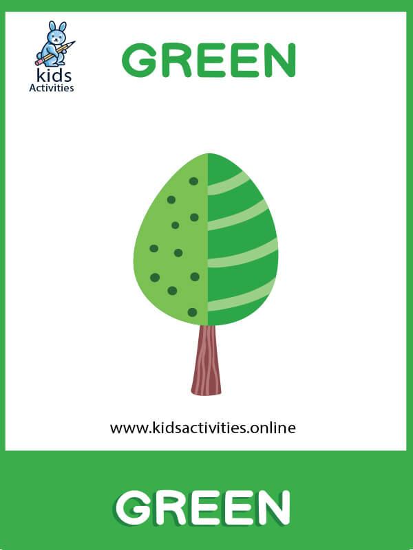 green colors preschool - Free Basic Colors Flashcards
