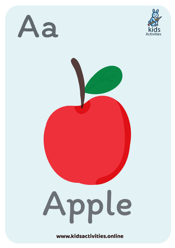 fruits and vegetables alphabet flashcards
