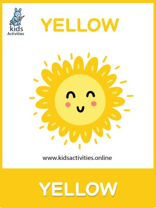 free color flashcards for toddlers - learn yellow color for kids