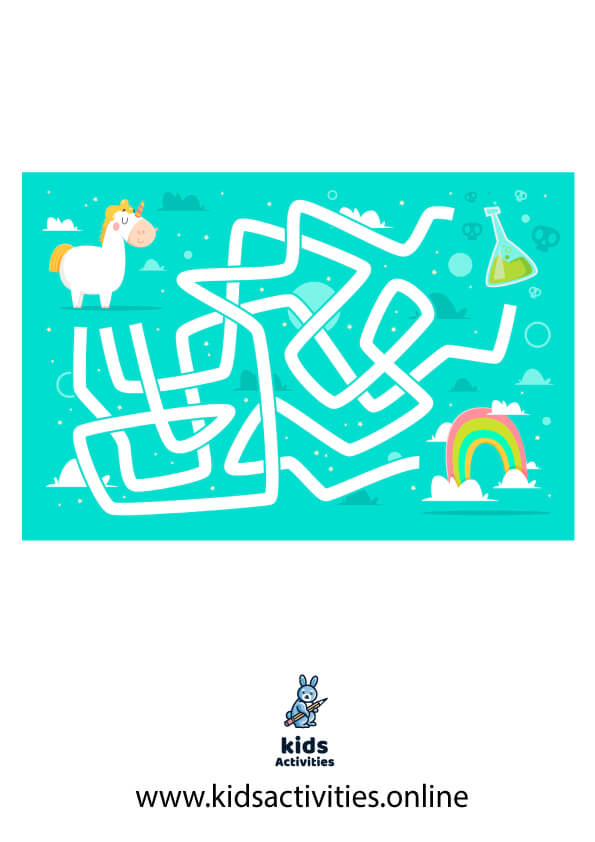 puzzle maze for kids - unicorn maze