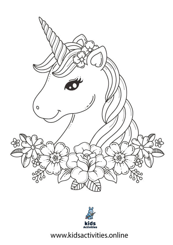 Unicorn coloring pages PDF .. Head coloring book