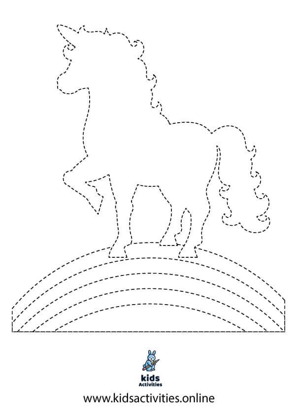 Tracing unicorn for preschool