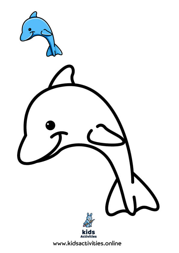 Free summer coloring pages pdf .. Dolphin color page
