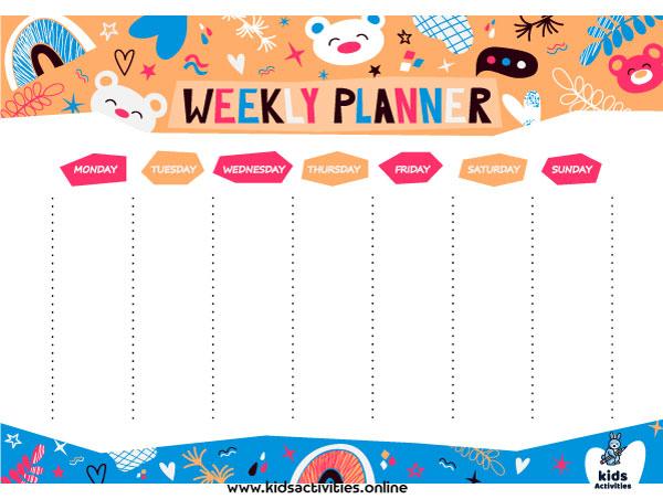 Weekly planner cute pdf ... free printable