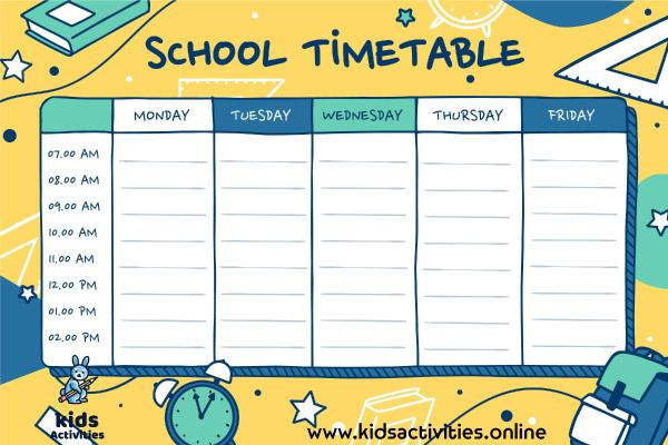 Free Weekly School Schedule Template .. Download PDF