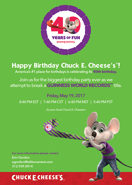 chuck e cheese s goes for a world record
