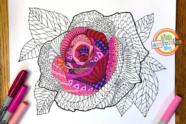 Coloring Pages For Kids Rose Zentangle
