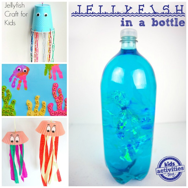 Letter J Activities Jellyfish with a cup, handprints, cup cake liners, and 2 liter bottle.