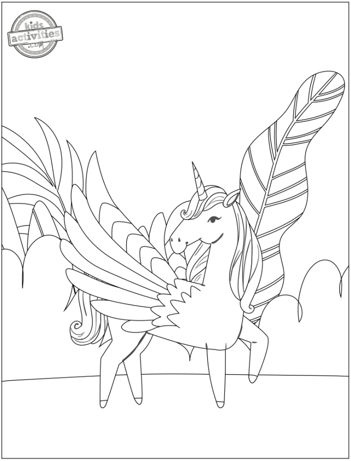 Pegasus Flying Unicorn with wings Coloring Page - Kids Activities Blog - printed pdf version of flying unicorn coloring page