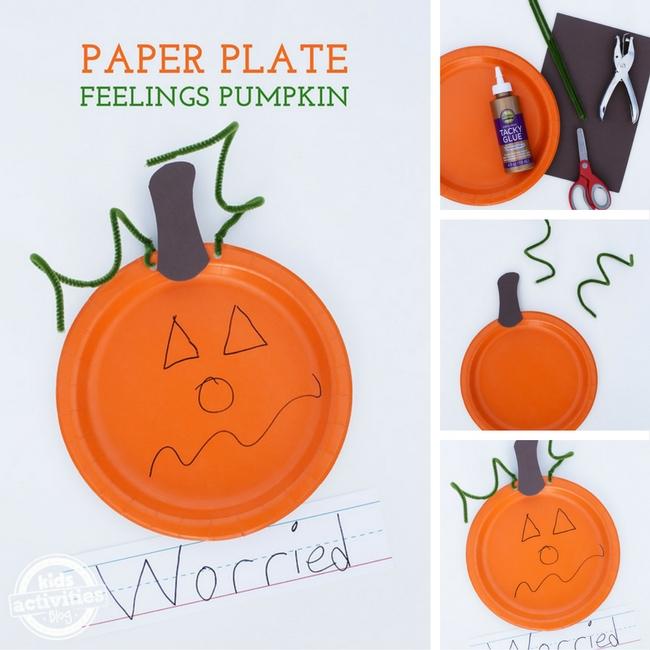 Paper Plate Feelings Pumpkin craft for preschoolers and kindergartners