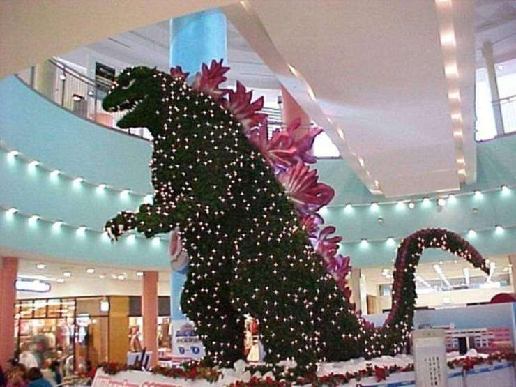 Christmas in Japan Godzilla Tree-Kids Are A Trip
