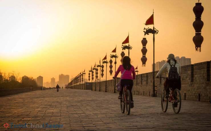 things to do in Xian China Biking-Xian-City-Wall-Kids Are A Trip