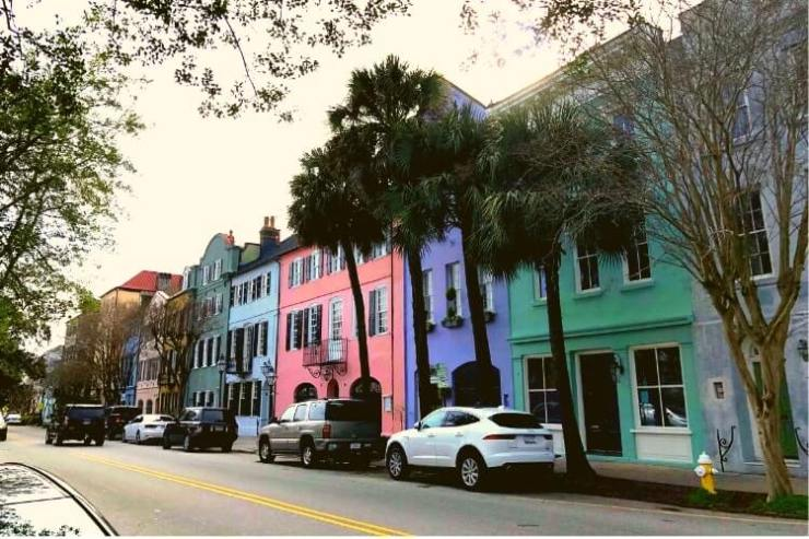 Rainbows abound on a girls getaway in Charleston SC, or in this case, Rainbow Row.