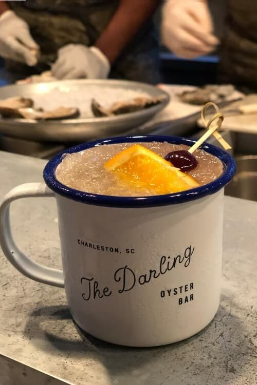 Charleston SC has so many food spots, it's hard to pick just one to recommend for a girls getaway, but we chose The Darling Oyster Bar for pre-dinner apps and drinks.
